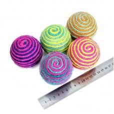 Мячик плетеный цветной для кошки