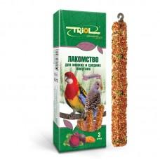 Лакомство Triol Standard для мелких и средних попугаев с мёдом (уп. 3 шт), 80г